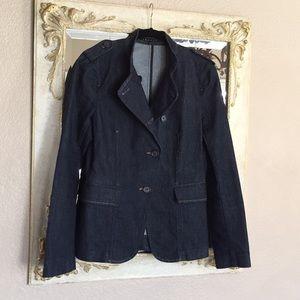 Theory blazer.Dark blue denim.Military look.Size 6